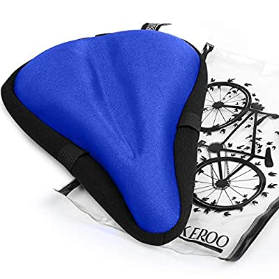 Most Comfortable Bike Seat Cushion Cover - 11 inches x 7 inches Premium Quality Exercise Bicycle Saddle Pad with Soft Gel for Women and Men - Great for Indoor Cycling Class and Stationary Bike (Blue)