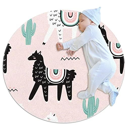 Lamas - Alfombra de suelo antideslizante de lujo para salón, habitación infantil, habitación de bebé, sala de chicas y nursery, decoración moderna para el hogar