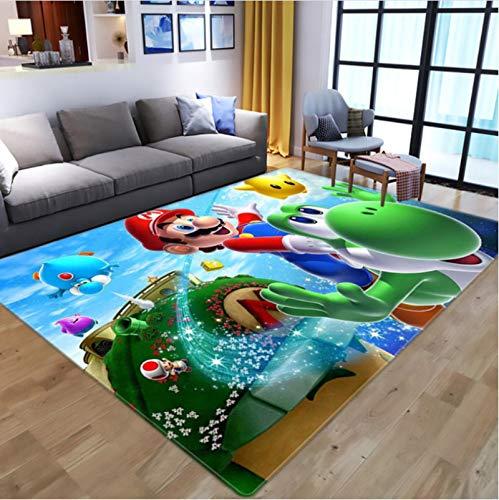 Haiqings Cartoon Anime Super Mario 3D-Druck Teppiche für Wohnzimmer Schlafzimmer Teppich Kinder Spielen Bodenmatte Kind Spiel Teppiche 80X120CM