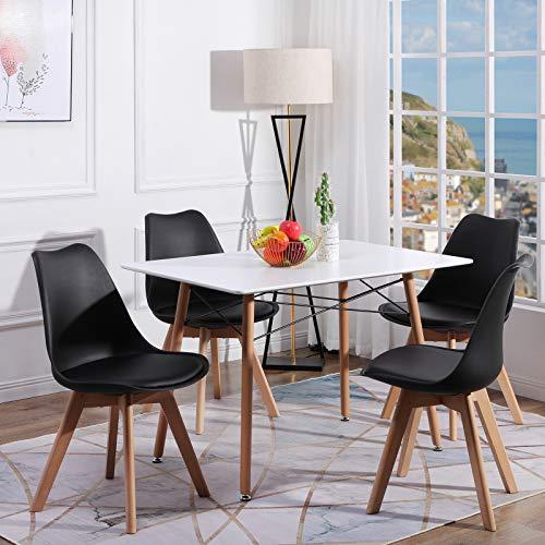 H.J WeDoo Esszimmertisch mit Stühlen, Essgruppe Weiß Tisch mit 4 Schwarz Stühlen für Esszimmer, Küche & Wohnzimmer