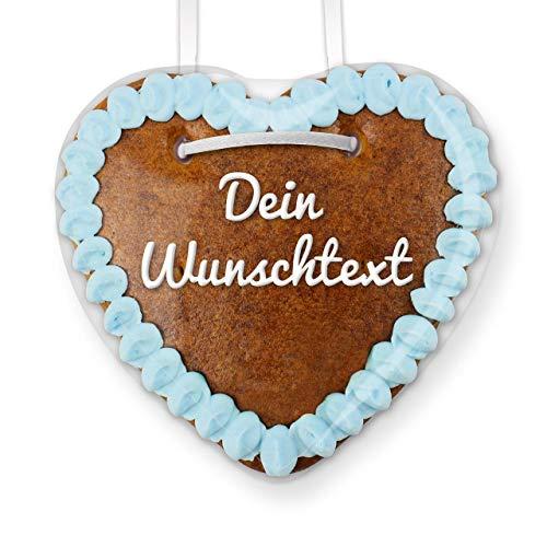Lebkuchenherz online selber Beschriften - Farbe: Blau - zum selbst Beschriften für den Freund, 15cm | LEBKUCHEN-WELT