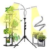 Shotory LED Pflanzenlampe mit Stativständer, Vollspektrum LED-Pflanzenlicht DREI Köpfe Wachstumslampe für Zimmerpflanzen, Pflanzenleuchte Stativ verstellbar 15-47 Zoll, 3/9 / 12H Timer & 3 Modi