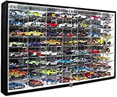 JACKCUBE DESIGN Hot Wheels 1/64 Scale Diecast Display Case Storage Cabinet Shelf Wall Mount Rack for 56 Hot Wheels(Black, 24.61 x 13.78 x 2.05 inches)-MK184
