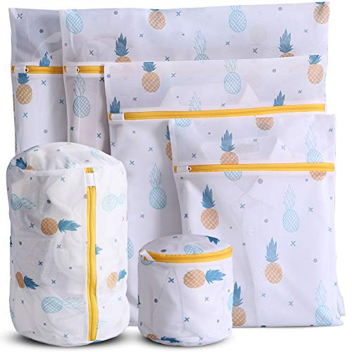 WestonBasics 6 Pcs Mesh Laundry Bags for Delicates with Cute Prints, Travel Storage Organizer Pack, Garment Washing Bags for Clothes, Bras, Underwear, Socks, Lingerie, YELLOW (PINEAPPLE)