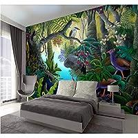 Lcymt 壁画の壁紙 3D壁紙モダンな手描きの熱帯雨林バナナの木テレビ背景壁画高品質の素材防水-150X120Cm