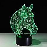 Tianyifengg LED Night Light-3D Vision-Sept Couleurs-Télécommande-Nouveauté Cadeau Variété Animal Cheval Night Light Lampe De Table comme Décoration De La Maison Pas Cher en Gros