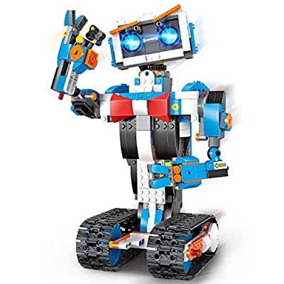 okk STEM Robot Building Block Toy for Kids, Remote and APP Controlled Engineering Science Educational Assembling Learning Kits Intelligent Rechargeable Creative Set for Boys Girls Gift (635 Pieces)