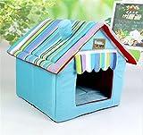 UMALL Warm und Funny Haustierbett Modernes Kuschelhöhle Gepolstert Hundebetten House-Design Hundehaus Katzenhaus Indoor Hundekissen Katzenbett (M=40 * 40 * 49cm, Blau)