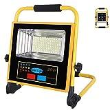 DLILI Foco construcción con batería LED 50W, Foco construcción a Prueba Agua con Panel Solar, Foco luz Blanco frío, lám...