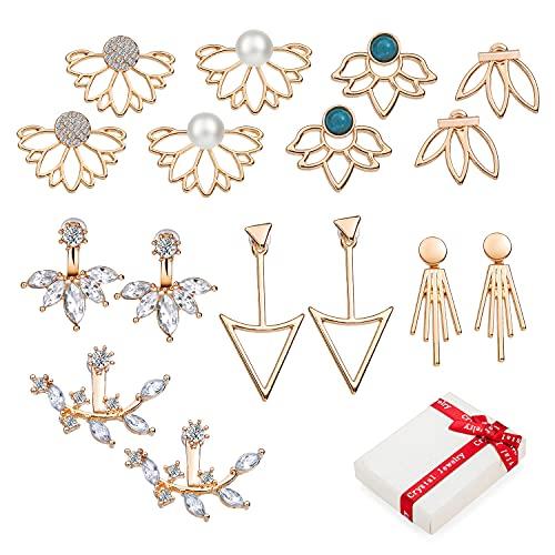 8 pares de aretes de oro vintage para mujeres y niñas, pendientes huecos de flor de loto pendientes de cristal, pendientes delanteros traseros lisos, joyería de moda oriental para regalo de cumpleaños