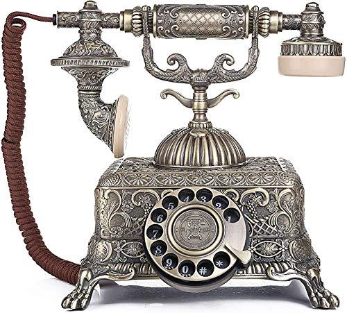 Teléfono fijo con cable Retro con dial giratorio Teléfono antiguo antiguo Teléfono fijo Hogar vintage con altavoz Teléfono giratorio de metal Hotel de oficina en casa creativo Teléfono antiguo, I