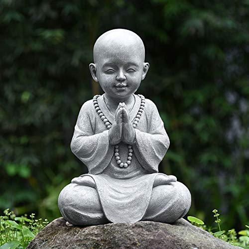 Meditating Baby Monk Buddha Statue Figurine, Zen Garden Monk Sculpture ,Decor for Home Garden Patio Deck Porch Yard Art Decoration with Natural Wood Beaded Necklace,11.2 Inch (Grey)