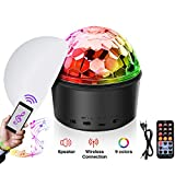Disco Ball,SOLMORE 9 Colors Disco Lights Bluetooth LED Stage Lights DJ Lights Sound Activated Party Lights with Remote Control MP3 Play&USB Wireless Connection for Kid Bedroom Bar Club KTV