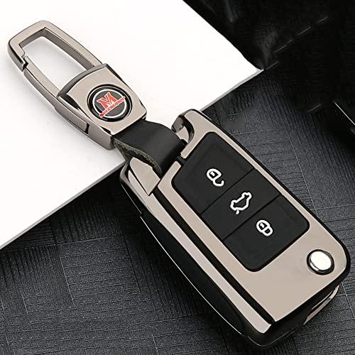 Funda para Llave para VW Volkswagen Golf 4 5 6 7 Bora Jetta Polo Passat B5 B6, Cover Carcasa De AleacióN De Zinc De Coche Smart Key BotóN De Silicona con Llavero, Plata