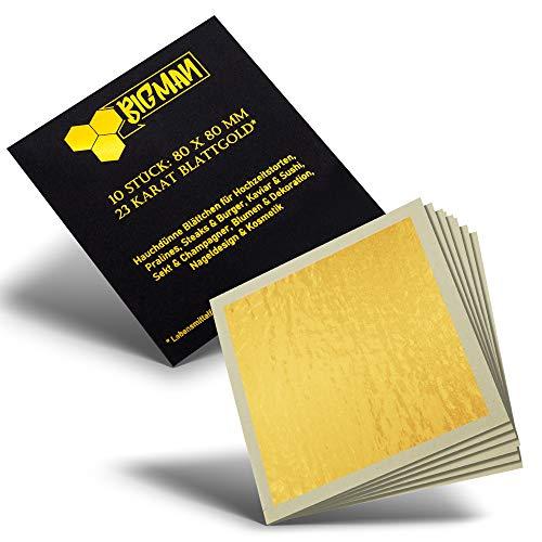 EICHENFELS Blattgold - Essbares Blattgold Blattgold - 23 Karat - Extra Groß - 8 x 8 cm - Goldfolie für Torte - Gin - Fleisch - Backen - Deko Torte - Zum Essen oder Basteln - Nagel - Blumen