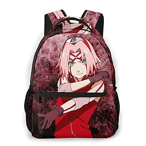 Naru-to Anime Har S-Ak-Ura - Bapa ligera, apta para uso escolar, básica, impermeable, casual, con bolsa de copa de agua lateral