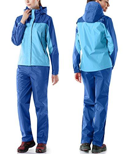 (テスラ)TESLAレディースレインウェア上下セットアウトドア登山雨具レインスーツレインコートかっぱ合羽FES20上:ブルー/下:ブルーM