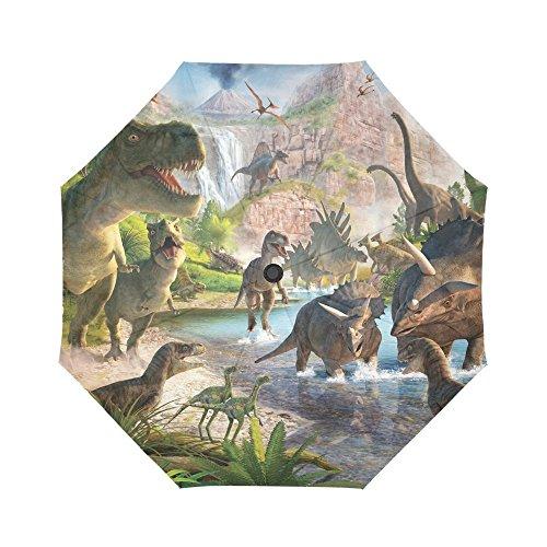 WECE Regenschirm mit Dinosaurier-Motiv, faltbar, faltbar, für Reisen