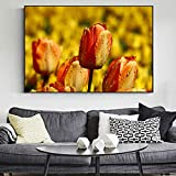 QWESFX Tulipa Flowers Home Decorative Pictures Realist Flowers Canvas Art Pinturas en la Pared Impresiones Modernas de la Lona para la Sala de Estar (Imprimir sin Marco) A4 50x100CM