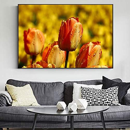 Sanzangtang Tulpe bloem hoofddecoratie afbeelding realistische bloem canvas kunst schilderij aan de muur van de moderne woonkamer canvasdruk frameloos