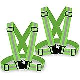 [2 Pezzi] Zacro - Gilet di Sicurezza Regolabile da Corsa Riflettente (Verde)