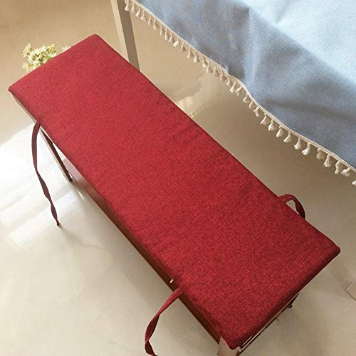 Cotton and Linen Bench Cushion,Solid Color Rectangular Long Seat Cushions Thick Not-Slip with Ties for Restaurant Tatami Bay Window Pad