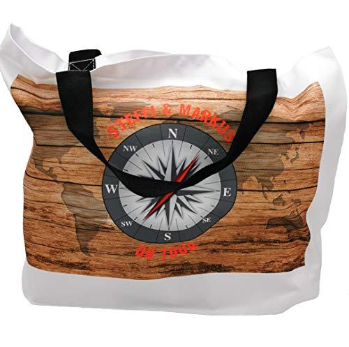 Camper-Tasche in Holzoptik mit Kompassrose und Namen personalisiert