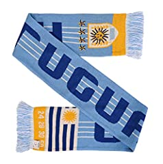 Uruguay soccer double-sided knit scarf Very soft to touch and fashionable Classic, timeless design 57-in. long by 7-in. wide Four championships listed (2 World Cup and 2 Olympic)