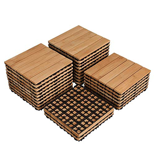 Yaheetech 27PCS Interlocking Wood Flooring Deck Patio Pavers Tiles Solid Wood and Plastic Corner Edging Trim Tiles Indoor Outdoor 12 x 12in Natural Wood
