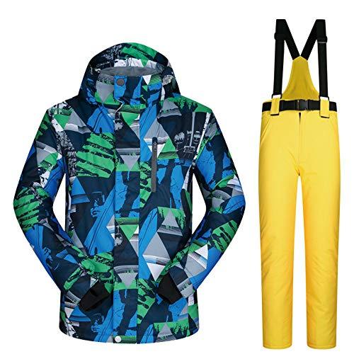 VANLAMP Veste de Ski pour Hommes, Ski Blouson Pantalon Ski Manteau à Capuche Imperméable Résistant Chaud pour Le Sport en Plein Air,Jaune,XL