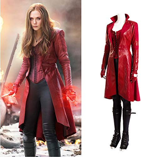 Rubyonly Bruja Escarlata Cosplay Capitán América 3 Guerra Civil Bruja Escarlata Scarlet Witch Vestuario para Las Mujeres,Fullsetnoshoes,XXXL