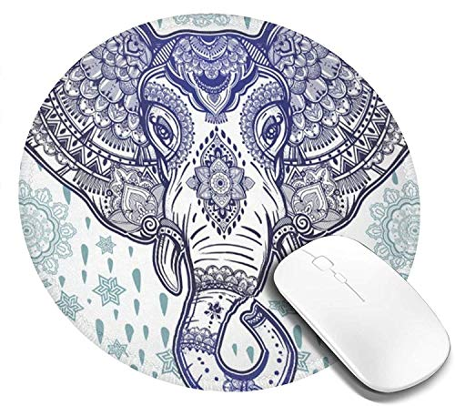 Mouse Pad Round for Women Hot Pink Lip in Leopard Print Grey Mousepad Mini Cute Computer Laptop Mouse Pad Mat Personalized Circle Small Cool Gaming Mouse Pads Kids Girls Boys Non Slip 7.9in
