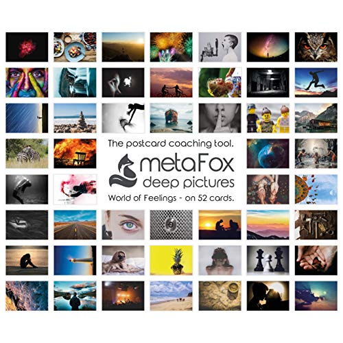 metaFox World of Emotions Postcards Pack - 52 Cards for Coaching and Therapy
