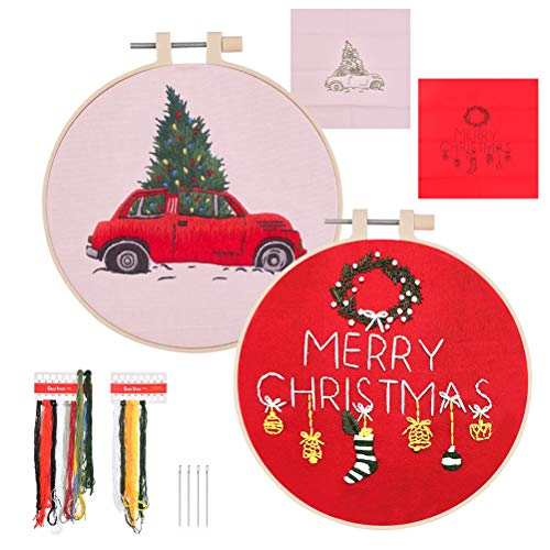 OFNMY 2 Pack Christmas Embroidery Cross Stitch Starter Kit with 2pcs Christmas Pattern Embroidery Cloth Bamboo Embroidery Hoop Color Threads and Tools Kit for Christmas Embroidery Supplies Beginners