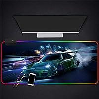 マウスパッドカラフルなスポーツカーオンザトラックRGBマウスパッドレインボーLED光るバックライト付きゲーム大型マウスマット90×40CMカラーA