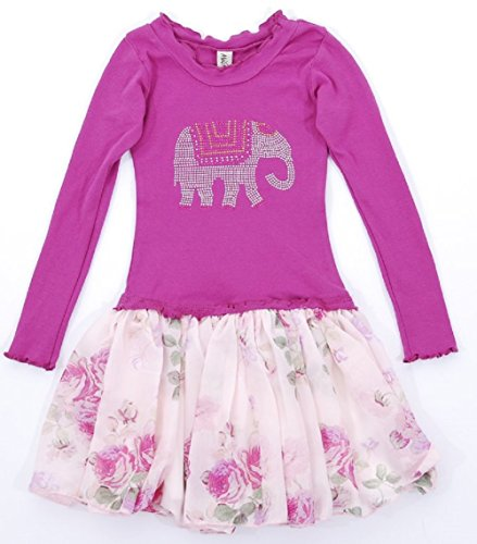 Mignone Girls' Long Sleeve Dress Elephant Magenta Size 7