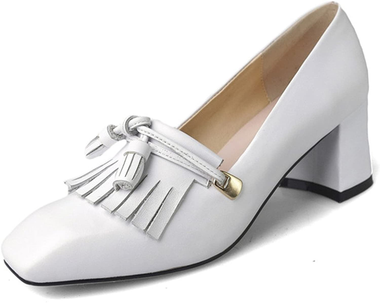 Nine Seven Genuine Leather Women's Square Toe Chunky Heel Tassels Handmade Style Pump shoes Outfit