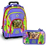 WWF Schoolpack Zaino Trolley + Astuccio 3 zip completo di cancelleria - scuola 2019-20