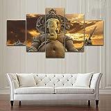DPZDW Pintura Pared Arte Impresiones HD decoración del hogar 5 unids/Set Elefante Dios Ganesha Lienzo de Moda Cuadros modulares para Sala de Estar