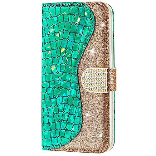 CTIUYA Schutzhülle für iPhone 7 / iPhone 8, Hülle Glitzer Handyhülle PU Leder Bling Luxus Handytasche Klapphülle Case Diamant Magnet Flip Cover Ledertasche für iPhone 7 / iPhone 8,Grün
