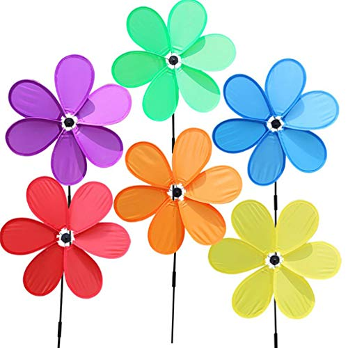 WOXIWANNI adornos de jardín – Decoración de jardín – 6 piezas de una sola capa de seis hojas molino de viento molino de viento giratorio para casa, jardín, patio, decoración de juguetes para niños