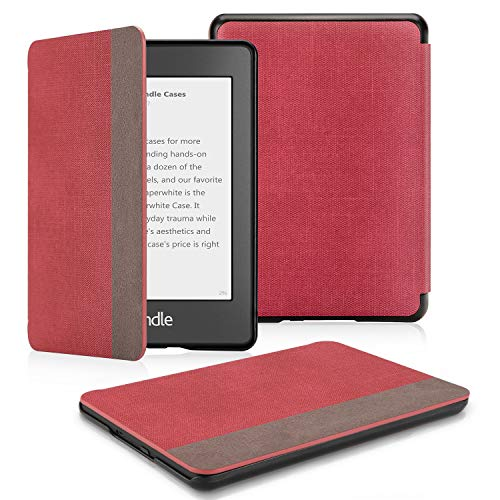 OMOTON Kindle Paperwhite Case (10th Generation-2018), Smart Shell Cover with Auto Sleep Wake Feature for Kindle Paperwhite 10th, Denim Red