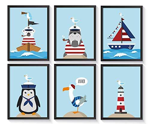 Bilder maritim Kinderzimmer | Kinderposter | Poster Set | A4 Kinderbilder | ohne Bilderrahmen