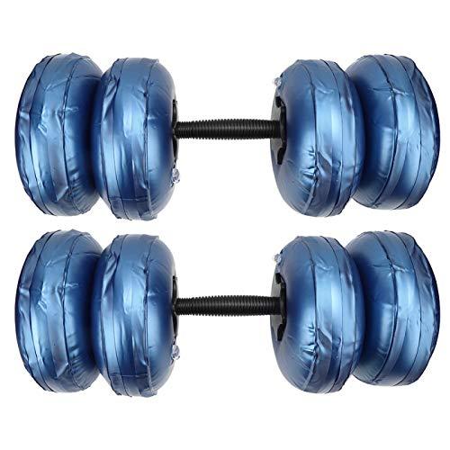 Tbest Mancuernas de Viaje portátiles, Pesas de Gimnasia portátiles llenas de Agua con Mancuernas para Entrenamiento Muscular, Peso Ajustable(16-20KG Azul)