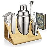 Mixology Bartender Kit and Cocktail Shaker Set for Drink Mixing | Mixology Set with 6 Bar Set Tools and Bamboo Stand Makes It the Perfect Home Cocktail Kit | All You Need For Your Bartender Tool K