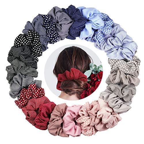KATELUO 24 Stück Scrunchies Chiffon Haargummis Elastische Haargummis Haargummis Blume Bunt Haarbänder Mädchen Pferdeschwanz Haarband für Frauen Mädchen Haarschmuck (24 Stück)