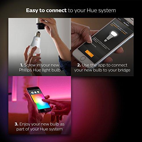 Philips Hue LED Lampe E27, 3. Generation, Einzellampe, dimmbar, 16 Mio Farben, app-gesteuert - 7