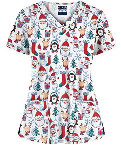 Strictly Scrubs Women's Santa Christmas Print Stretch Scrub Top (Small)