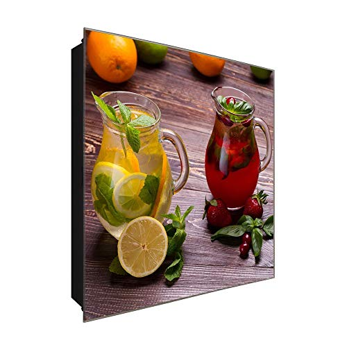 DekoGlas Schlüsselkasten 'Erfrischender Tee' 30x30 Glas, inkl. Haken Schlüsselbrett Schlüssel-Box Design Aufbewahrung