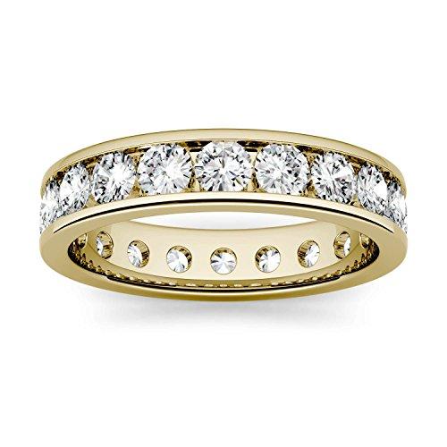 Charles & Colvard Forever One anillo de boda - Oro amarillo 14K - Moissanita de 3 mm de talla redonda, 2 ct. DEW, talla 12
